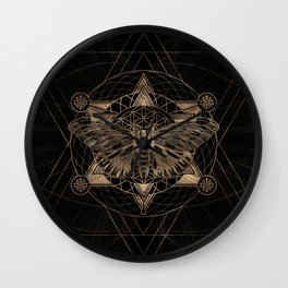 Regal moth in Sacred Geometry - Black and Gold Wall Clock