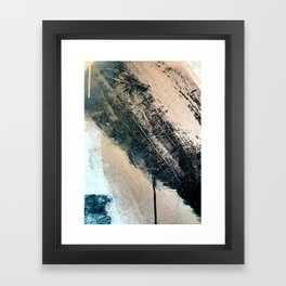 Honey 2: a pretty, minimal abstract mixed-media piece in blue, gold, and pink Framed Art Print