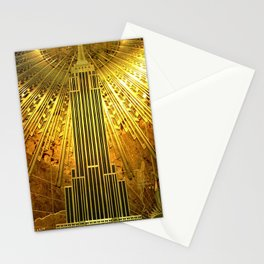 Empire State Building Lobby Art-Deco Sunburst Portrait Stationery Cards