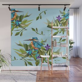 Common Kingfisher (halcyon) in Triangles Wall Mural