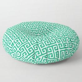 Jade and White Greek Key Pattern Floor Pillow