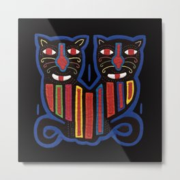 Mola Night Cats  Metal Print