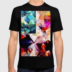 Colorful Geometric Abstract Mens Fitted Tee MEDIUM Black