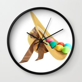 Colored Easter Eggs and woman hat Wall Clock