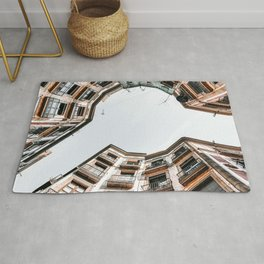 Travel Print, Barcelona Gothic Quarter, El Raval, Low Angle, Perspective View, Downtown Barcelona Spain, Travel Print, Vintage Architecture Rug