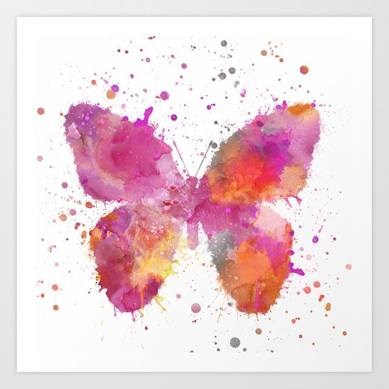 Artsy Butterfly colorful watercolor art Art Print