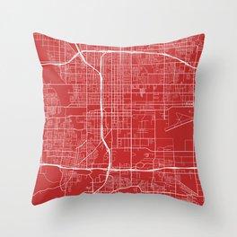 San Bernardino Map, USA - Red Throw Pillow