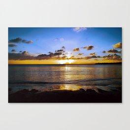 Tropical Golden Sunset Beach Canvas Print