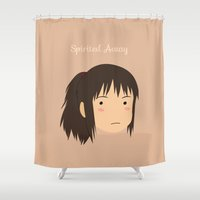 chihiro Shower Curtains featuring Spirited Away Chihiro by bonieiji