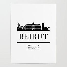 BEIRUT LEBANON BLACK SILHOUETTE SKYLINE ART Poster