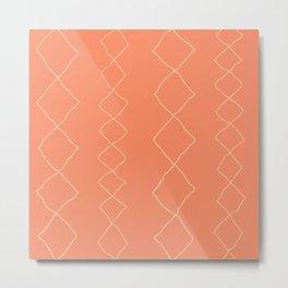 Moroccan Diamond Stripe in Orange Metal Print