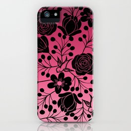 Simple Black Floral and Swallow Print Pink Ombre iPhone Case