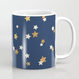 Navy blue faux gold glitter elegant starry pattern Coffee Mug
