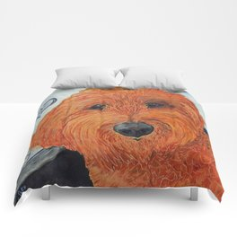 Goldendoodle in the Car Comforters