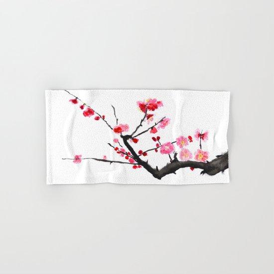 red plum flower Hand & Bath Towel