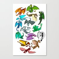 dragons Canvas Prints featuring Dragons by prpldragon
