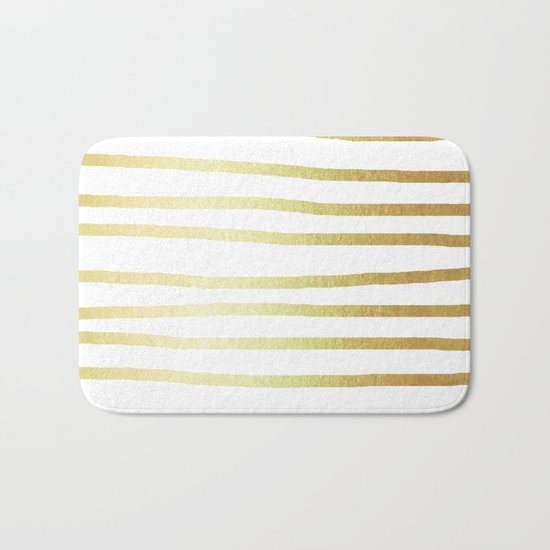 Simply Drawn Stripes 24k Gold Bath Mat