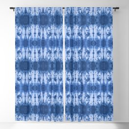 White and Blue Circle Shibori Blackout Curtain