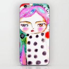 Dream a bit...every day! pink hair girl fish flowers iPhone Skin