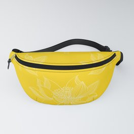 Lovely Modern Lotus Flowers on Sunny Yellow Background - Spring Summer Mood #decor #society6 #buyart Fanny Pack
