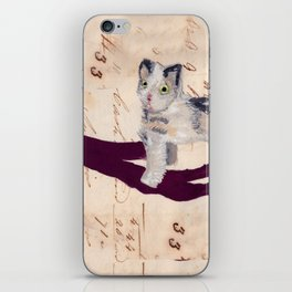 Vintage Fabric Stuffed Cat in Gouache iPhone Skin