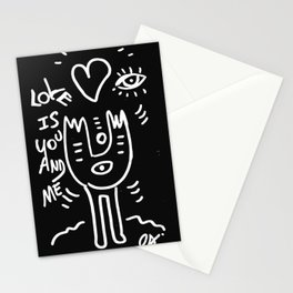 Love is You and Me Street Art Graffiti Black and White Stationery Cards