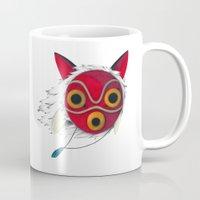 mononoke Mugs featuring Mononoke Mask  by Puddingshades