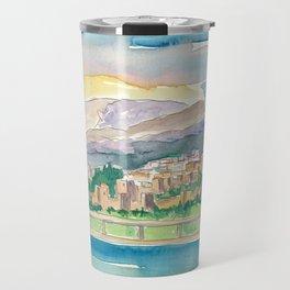 Malaga Port View Of City And Alcazaba Fortress Travel Mug