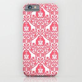 Giraffe Damask Coral iPhone Case
