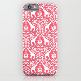 Giraffe Damask Coral iPhone Case