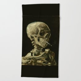 Vincent van Gogh - Skull of a Skeleton with Burning Cigarette Beach Towel