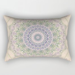 32 Wisteria Pine Loop -- Vintage Cream and Lavender Purple Mandala  Rectangular Pillow