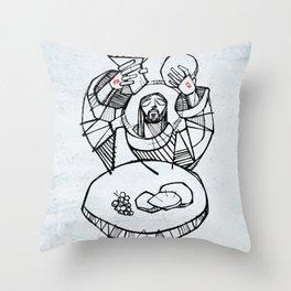 Jesus Christ at Eucharist illustration Throw Pillow