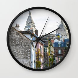 French street in Montmartre, Paris Wall Clock