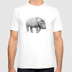 Hippo LARGE Mens Fitted Tee White