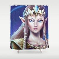 zelda Shower Curtains featuring Zelda by Emeraldus