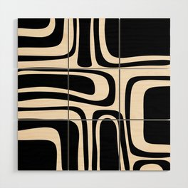 Palm Springs - Midcentury Modern Abstract Pattern in Black and Almond Cream  Wood Wall Art