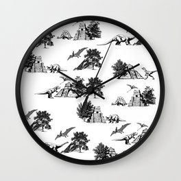 Black Dinosaur and Pyramids Wall Clock