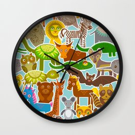 collection Funny cartoon Animals seamless pattern on blue background. Vector Wall Clock