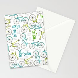 Watercolor Blue and Green Bikes Stationery Cards
