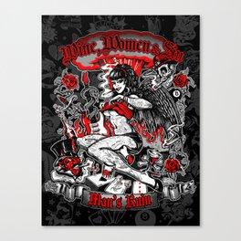 Wine Women & Sin Tattoo Girl Canvas Print