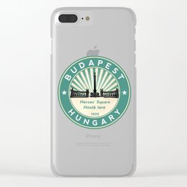 Budapest, Heroes' Square, Hosök tere, Hungary, circle, green Clear iPhone Case