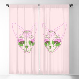 Sphynx Skull - Double Exposure - Pink and Green Blackout Curtain