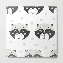 Baby Racoon - Racoon Baby Pattern Metal Print
