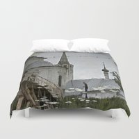 russia Duvet Covers featuring Suzdal, Russia. Church Reflection by Brandon Beacon Hill