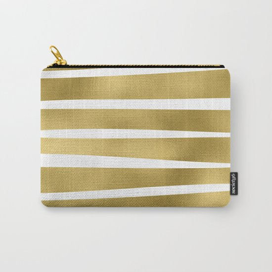 Gold unequal glitter stripes on clear white - horizontal pattern Carry-All Pouch