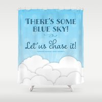 jane austen Shower Curtains featuring Jane Austen Sense & Sensibility Blue Sky Print by Noonday Design