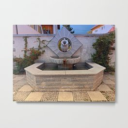 The village fountain of Kleinzell   architectural photography Metal Print