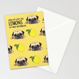 Pug dog. When life gives you lemons, eat more watermelon!   Stationery Cards