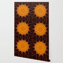New Media Art Marigold on Mocha Kaleidoscope  Wallpaper